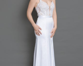 Boho wedding dress, beach wedding dress, simple beach wedding dress, simple lace wedding dress, bohemian bridal gown, boho wedding drs