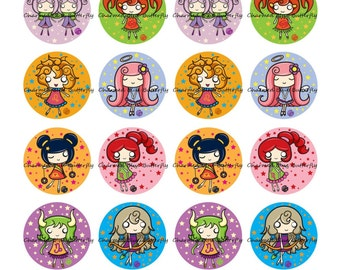 Instant Download Zodiac signs 20mm Circles - Digital Collage Sheet