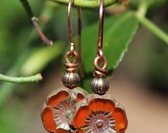 Czech Glass Pansy Earrings, Fall Earrings, Autumn Earrings, Flower Earrings, Fall Jewelry, Autumn Jewelry, Mustard Earrings, Orange Earrings