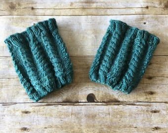 HANDMADE Heather Green Boot Cuffs. Size Medium/Large. Cable Knit.