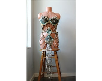 Midcentury Showgirl Burlesque Outfit // XS