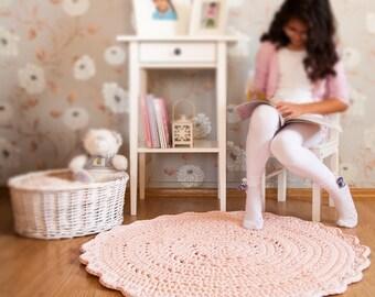 Light Pink Crochet Rug, Pink Rug, Floor Mat, Nursery Rug, Baby Room Floor Mat, Home Decor, Newborn Photo Prop, Kids Room Decor