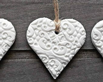 Embossed Clay Heart Personalised Wedding Favour Tree Decoration Present Tag Hand Made
