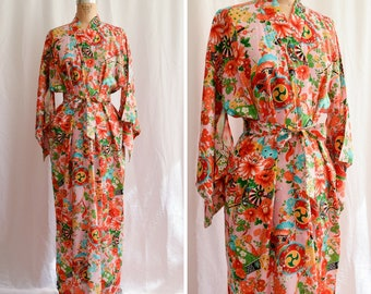 1960s Kimono | Peony Dream | Vintage 60s Japanese Rayon Floral Print Robe Full Length with Belt  Pink Background Kimono Sleeves One Size