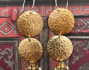 Earrings,Drop earrings,Gold earrings,Gold jewelry,Dangle earrings,Hammered earrings,Pendant earrings,Chandelier earrings