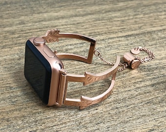 The Alyssa Arrow Metal Apple Watch Band 38mm or 42mm | Rose Gold Stainless Steel | Series 1, 2, 3 | Adjustable Strap