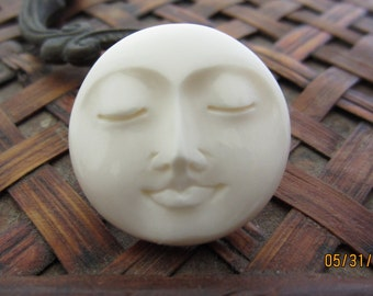 AAA Quality 25 mm Moon Face Cabochon with closed eye Cabochon,drilled, buffalo  bone carving, cabochon for setting S3972