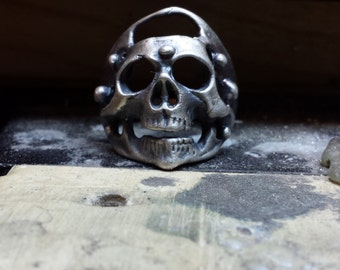 Sterling Silver Oxidized Skull Ring