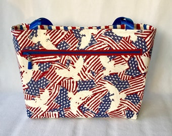 USA Tote Bag - 4th of July Tote Bag - Beach Bag - Red White Blue Tote Bag - American Flag Tote Bag - Eagle Tote Bag - Independence Day Bag