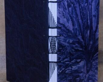 """Handbound Navy Blue """"Tie Die Fabric Blank Page Journal"""
