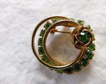 Vintage Green Rhinestone Rose Brooch