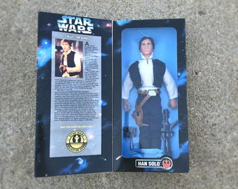 "Han Solo Star Wars Doll, Father's Day Gift for Men, 12"" Star Wars Action Figure Toy in Original Box with Blaster, Harrison Ford"