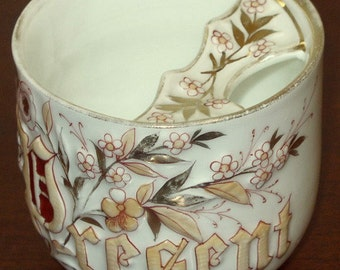 """Victorian Mustache Cup, """"PRESENT"""", Limited Edition, Hand Painted"""