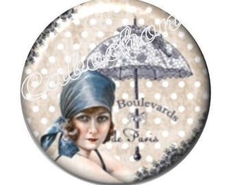 1 cabochon 30mm domed glass, Lady of Paris, vintage, retro, umbrella, miss