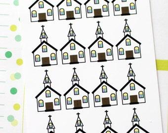 Planner Stickers Church for Erin Condren, Happy Planner, Filofax, Scrapbooking