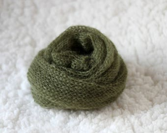 Olive  green Mohair Knitted Wrap, New Born Mohair Prop, Knitted Wrap