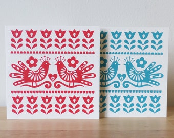 Handmade Valentines Card // Love Birds Paper Cut Image // Handprinted Love Card // Mexican Folk Art and Frida Kahlo Inspired