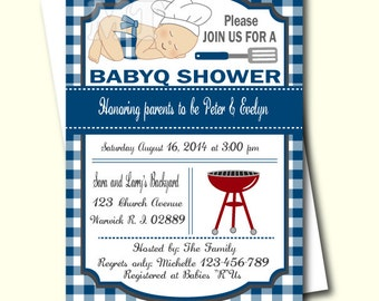 Blue Barbeque Baby Shower Invitation- BBQ invite- Barbecue Baby Shower Invite- Printable Babyshower Invitation- DIY Coed Baby Shower- Boy