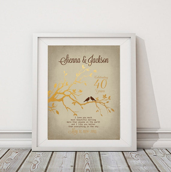 Ruby Wedding Gift Ideas For Husband: 40th ANNIVERSARY Gift Personalized Gift Couples Paper