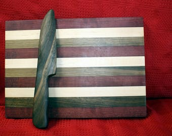 Exotic Wood Cutting Board with Walnut Cheese Knife