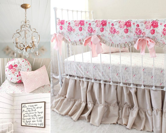 Shabby Chic Baby Bedding farmhouse nursery bedding linen crib bedding shabby chic