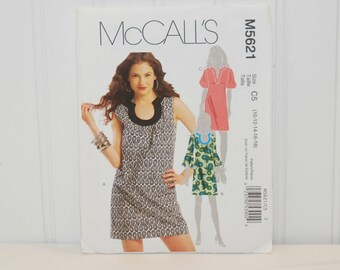 McCall's M5621 Dress Sewing Pattern (c. 2008) Misses' Sizes 12-18, Above Knee Dresses, Business, Casual, Summer Dress, Stylish, Sleeveless