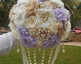 RUSTIC COUNTRY GLAM Wedding Bouquet, Deposit for Custom Fabric Jeweled Brides Bouquet, Rustic Bouquet, Brooch Bouquet