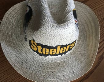 Pittsburgh Steelers Straw Hat, Steelers Floppy Straw Hat, Steelers Floppy Hat, Hand Decorated Steelers Straw Hat, Steelers Accessory
