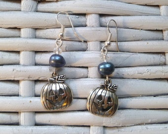 Boo! Silver Plated Pumpkin Earrings with Freshwater Tahitian Pearls - Perfect for Halloween