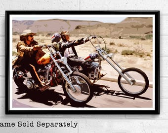 Easy Rider illustration, 60's Movie Pop Art, Motorcycle Home Decor, Rebel Poster Print Canvas