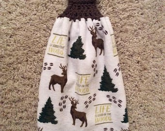 Life Is Good In the Woods - Woods - Trees - Deer - Hanging Kitchen Towel -  Crochet Top Towel - Double and Reversible