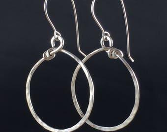 Hammered Hoop Earrings, Large Hoops, Medium Hoop Earrings, Sterling silver hoops, handcrafted sterling silver, Handcrafted Silver Earrings