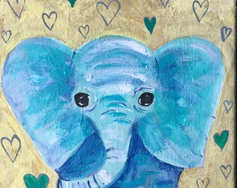 Elephant painting, Child's Room Decor, Nursery Decor, Blue Elephant, Hearts, 8x8 Canvas, Original Painting for Child, Abstract Art
