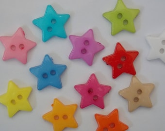 Button star acrylic two holes scrapbooking