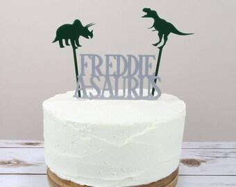 Dinosaur Cake Topper - A-Saurus Cake Topper - Personalised Cake Topper - Party Topper - Acrylic Cake Topper - Birthday Dinosaur Cake