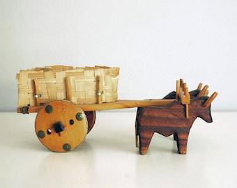 Wooden Ox Cart, Vintage Brazil Toy, Primitive Folk Art, South America Souvenir, Carved Animal Toy, Woven Straw, Wood Toy Wagon