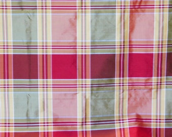 Plaid dupioni silk~Bright Colors~Red-Green-Yellow~54 wide x BTY