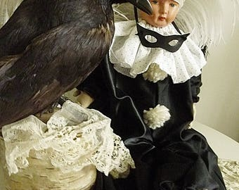 So cute, antique Pierrot doll, Pierrette, Boudoir Doll, France....CHARMANT!
