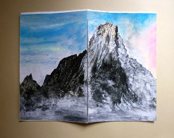 Mountains in Norway : Reine i Lofoten (Boutique Notebook/Sketchbook with Giclee Cover - White Amatruda Handmade Paper - Silver Waxed Thread)