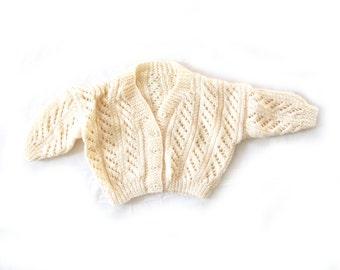 vintage sweater cardigan baby boy girl 70s ivory crochet 1970s flower button