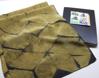 Silk Crepe Scarf Hand Dyed Shibori Gold Black Itajime Triangle Grid Ready to Ship Ancient Relic Collection