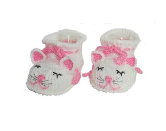 White Cat Baby Booties Shoes, Kitty Cat Baby Girl Booties, Baby kitty shoes, Kitty Cat Slippers, Bay Crib Shoes Crochet baby kitty booties