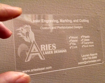 Custom Clear Acrylic Business Cards - Laser Engraved