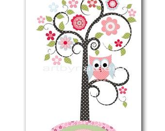 Tree Owl Pink Green Kids Art for Children Baby Girl Wall Art Kids Wall Art Baby Room Decor Baby Nursery Decor Baby Girl Nursery Print