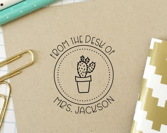 Custom Stamp, Teacher Stamp, From the Desk of, Classroom Stamp, Cactus Stamp, Office Stamp, Teacher Gift, Bookplate, Stationery Stamp, 3B
