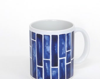INDIGO Aquarelle, ceramic mug - stripes