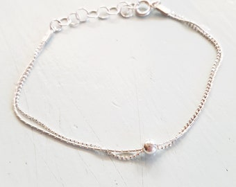 Sterling Silver Anklet,Simple Silver Anklet,Delicate Sterling Silver Ankle Bracelet,Beaded Anklet,Thin Anklet,Minimalist,Beach Anklet