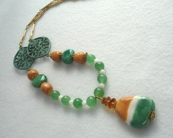 Necklace with Kazuri pendant and beads, tan and green, African beads, Fair Trade