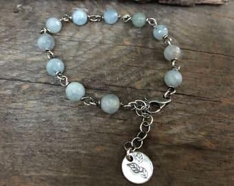 Sterling Silver Beaded Bracelet, Aquamarine Bracelet, Beaded Bracelet, Link Bracelet