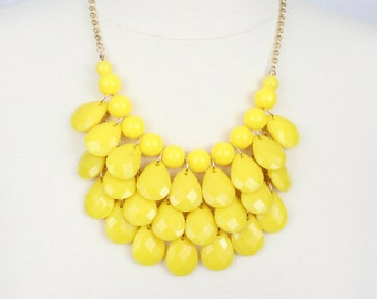 Yellow Statement Necklace Teardrop Bib Necklace Multi Layered Necklace Brides' Maids Jewelry